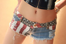 Feitong New Arrival Vintage Summer Short Pants Women Sexy Low Waist American US Flag Mini Denim Shorts Jeans Hot Denim