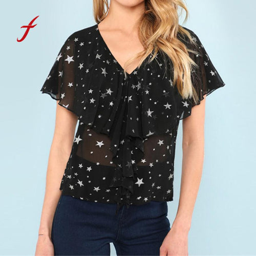 Feitong Ruffles chiffon tops and blouses Women sexy transparent v neck shirt Ladies short sleeve stars print blouse