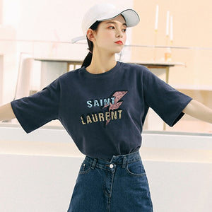 Female Summer O-Neck Short Sleeve Cotton T-Shirts Women Fashion Letter Print Loose Tees Casual Brand TShirt Harajuku Tops JQ489