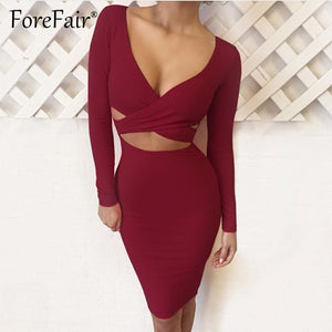 Forefair Sexy Criss-Cross V Neck Bodycon Dress Women Autumn Winter Long Sleeve Night Club Wear Slim Wrap Party Dresses Vestidos