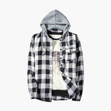 Free Ostrich Men Shirts Handsome Men's Autumn Winter Casual Plaid Shirts Turn-down Collar Long Sleeve Pullover Shirt Top Hooded