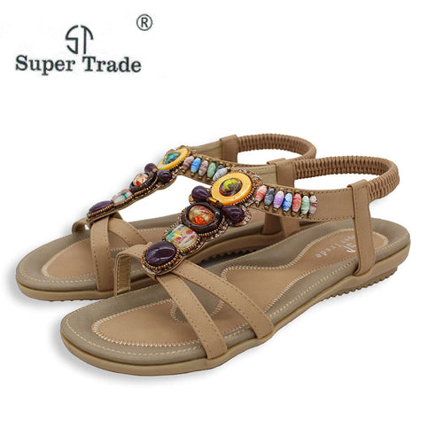 Free Shipping 2018 New National Style Women Sandals Bohemia Flats Beaded Size Foreign Trade Shoes Summer Shoes Women Shoes
