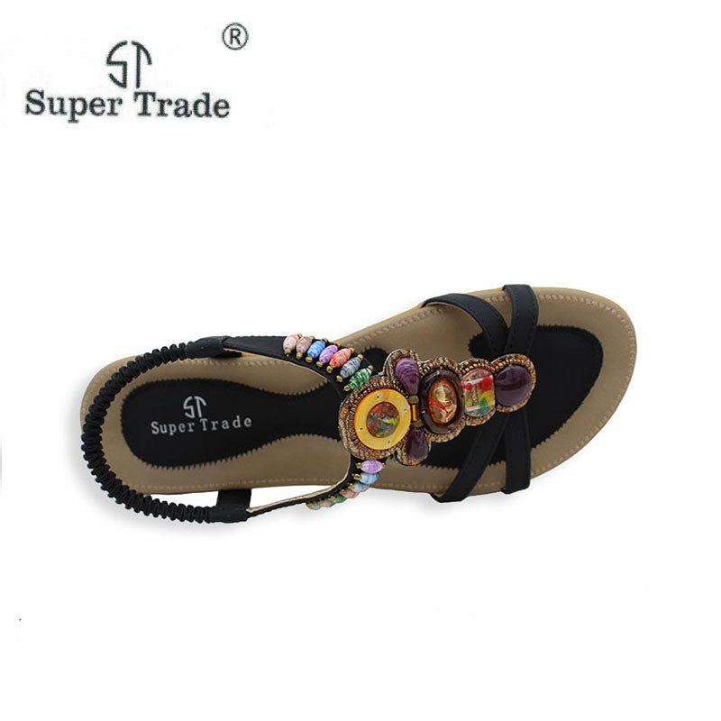 95f655c6021a ... Free Shipping 2018 New National Style Women Sandals Bohemia Flats  Beaded Size Foreign Trade Shoes Summer ...