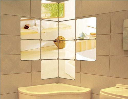 Free shipping acrylic  round angle or straight angle square wall mirror sticker , 3D square mirror stiker , 12pcs per set
