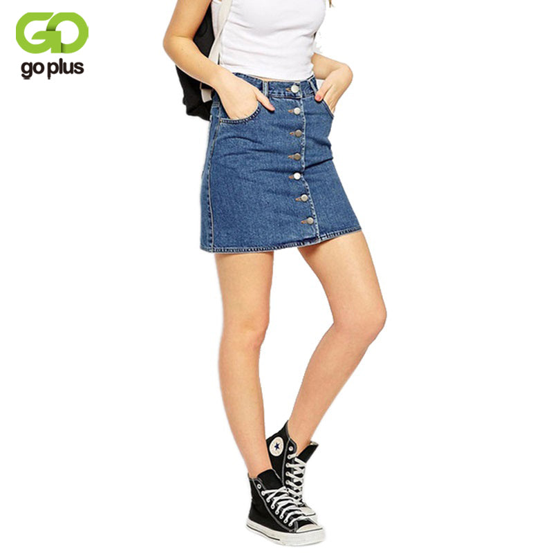 GOPLUS 2018 Summer Style New Fashion Short Jeans Skirt Women Faldas Mini Denim Skirts High Waist Single Breast A-Line Skirts