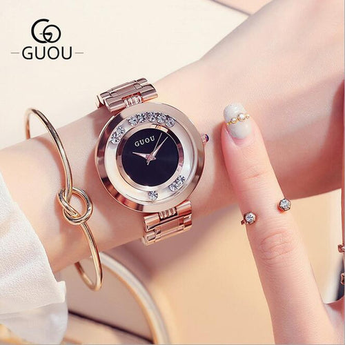 GUOU Watches Women Top Luxury Rhinestone Wristwatches Fashion Rose Gold Ladies Watch Full Steel Clock saat relogio feminino