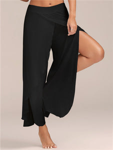 Gamiss Women Pant Sexy High Split Mid Waist Wide Leg Pants Flowy Female Women Trousers Casual Summer Beach Long Loose Harem Pant