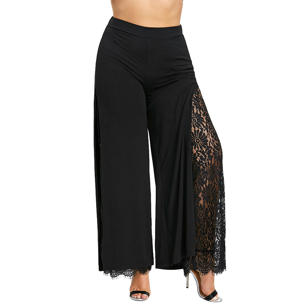 Gamiss Women Wide Leg Pants Plus Size High Slit Lace Lined Palazzo Pants Mid Elastic Waist Female Fashion Long Loose Trousers