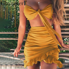Glamaker Ruffle halter women dress vestidos Sexy v nerk party dress summer Bow tie bodycon mini dress female two piece dresses