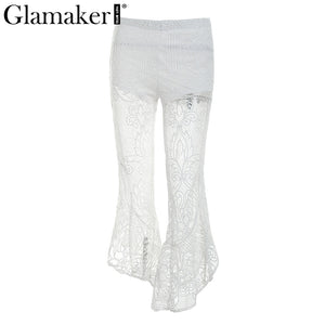 Glamaker Sexy lace ruffle pants Women hollow out loose mid waist pants Summer transparent party club female trousers bottom 2018
