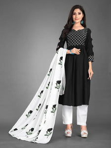 New 2021 Heavy Cotton fully stitched Black Kurti with Dupatta and Pant (Size-XL)