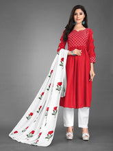 New 2021 Heavy Cotton fully stitched Red Kurti with Dupatta and Pant (Size-XXL)