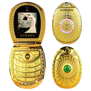 God's Mobile phone!Luxury Flip Phone clamshell folder Russian keyboard lotus flower jade lord cell phone Dual sim cellphone