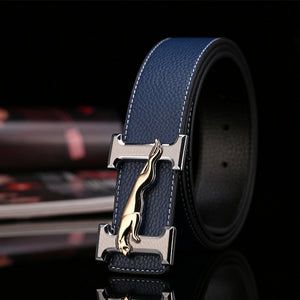 H Jaguar Designers Luxury Cowhide Brand Genuine Leather Women Belts for Mens High Quality Cowskin Ceinture Homme Blue