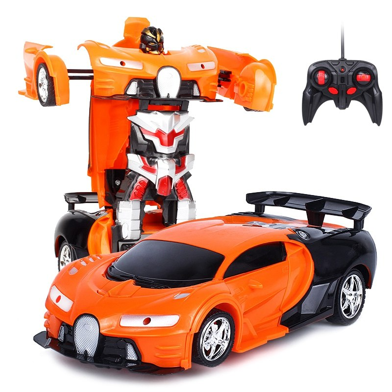 HOME-2 In 1 RC Car Sports Car Transformation Robots Models Remote Control Toy Kids(orange)