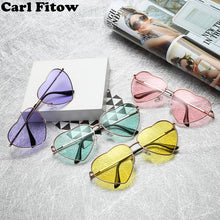 Heart Shaped Sunglasses Women Metal Frame Reflective Lens Sun protection Sunglasses Men Mirror Oculos De Sol