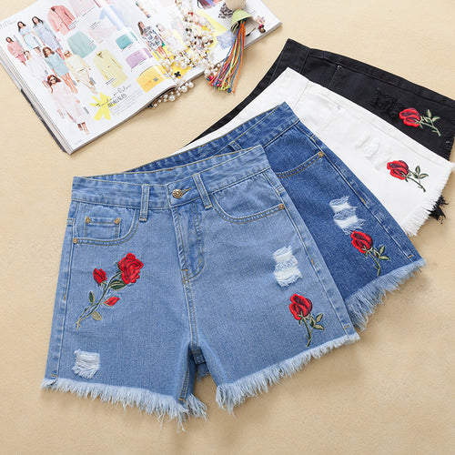 High Waist Denim Shorts Women's Clothing Summer New White Burr Loose Korean version Roses Embroidery Holes Hot pants