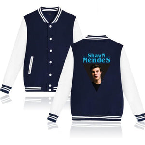 Hit POP Singer Shawn Mendes Baseball Uniform Jacket Coat Women Men Harajuku Sweatshirts Winter Fashion Hip Hop Pink Hoodie