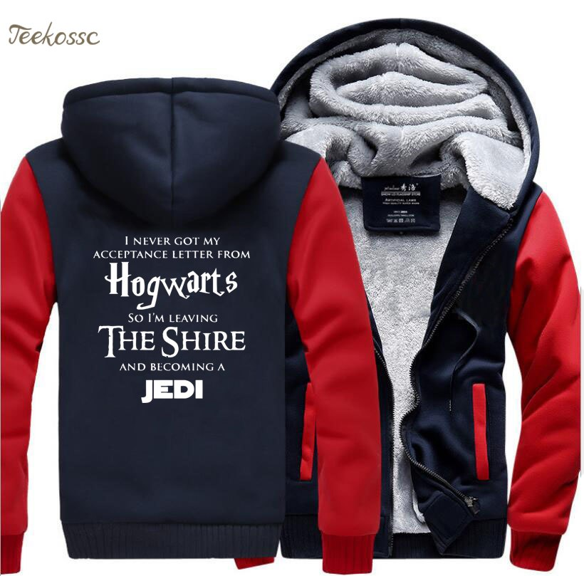 Hogwarts Star Wars Jedi Creative Funny Hoodies Coat 2018 Winter Warm Fleece Thick Sweatshirt Men Novelty Men's Jacket Clothes