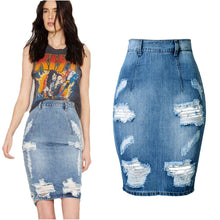 Hole High Waist Women Hot Skirt Summer Bodycon Denim saia cintura alta falda Jean Back Split Mini Skirts Short Sexy jupe courte
