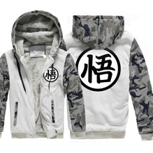 Hoodies funny Dragon Ball SON kpop Hooded men wool liner Camouflage color fleece Thicken Zipper Jacket coats 2018 male tracksuit