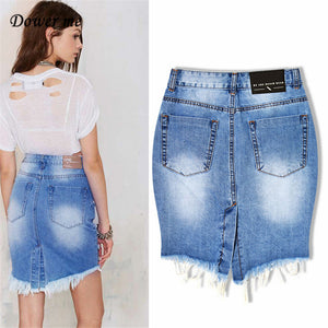 Hot Female Ripped Tassel Jeans Skirt Fashion Vintage Denim Skirts Female Slim Office Sexy Pencil Skirt For Ladies  YN314