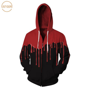 ISTider 3D Red Flowing Blood Hoodies Men Women Winter Fleece Jacket Unisex Zip-Up Outwear Hip Hop Black Hooded Sweatshirt