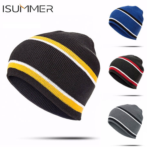 ISummer 2018 New Winter Hat For Men & Women Skullies Beanie Striped Knit Cap Fashion Warm And Comfortable Hedging Cap wholesale