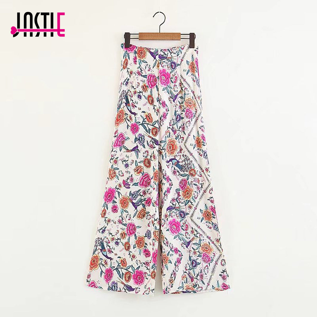 Jastie Boho Flower Print trousers Women Pants Casual Beach High Waist Wide Leg Pant Spring Summer Bottom Female Pants Trousers