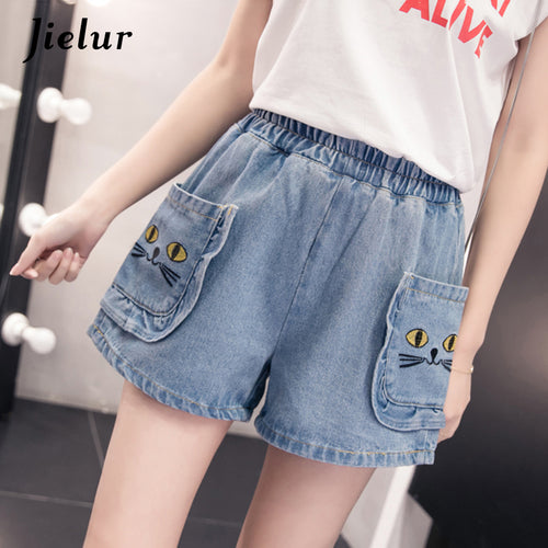 Jielur 2018 Summer Oversized Women Shorts Loose Cute Cartoon Pockets Elastic Waist Jeans S-5XL Kawaii Street Cool Denim Shorts