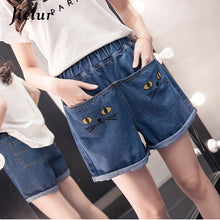 Jielur Korean 2018 Large Size Cat Embroidery Women's Shorts Loose Pure Color Fashion Female Jeans Cute Skinny Denim Shorts S-5XL