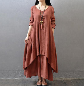 Johnature Cotton Color Women Maxi Dress 2018 Spring New False Two-piece Long Sleeve Round Neck Loose Plus Size Irregular Dress