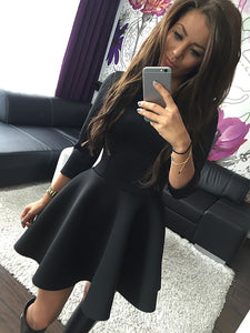KAYWIDE Fashion Women's 3/4 Sleeve Sexy Spring Women Dress Bodycon Ruffles O Neck Office Dresses Ladis Empire Vestidos