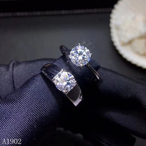 KJJEAXCMY Fine jewelry 925 sterling silver inlaid natural diamonds that female couple ring support detection