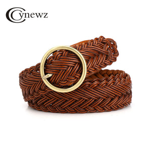 Korean Women Knitted Cowskin Belt Pin Buckle High Quality Female Leather Belt Brown Fashion Waist Strap For Jeans Skirt 100cm