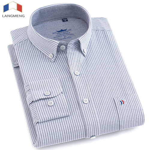 LANGMENG 2018 Mens Long Sleeve 100% Cotton Striped Oxford Dress Shirt Men High Quality Slim Fit Casual Shirts Brand Clothing 1