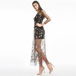 LERFEY Women Embroidery Flower Casual Dress Summer Two Piece Mesh Maxi Dress Black Dresses Long Sexy Dress Clothing Vestidos