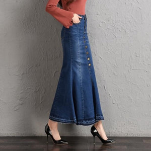 LXUNYI 7XL 8XL Autumn New Women Denim Skirt High Waist Sexy Ruffles Slim Woman Mermaid Skirt Plus Size Long Casual jean Skirts