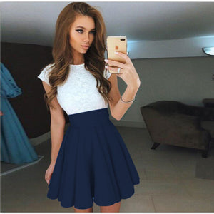 Lace Kawaii Dress Beach Summer Women Cute 2018 Flare Dresses Mini A Line Party Dress  Mujer Robe Femme Plus Size GV651
