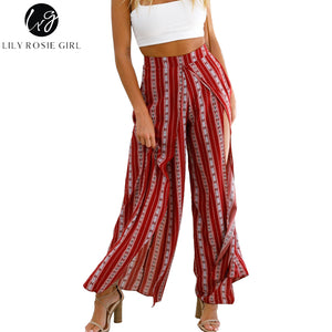 Lily Rosie Girl Boho Print Striped Women Wide Leg Pants 2018 Summer Sexy Split Long Pant High Waist Casual Beach Female Trousers