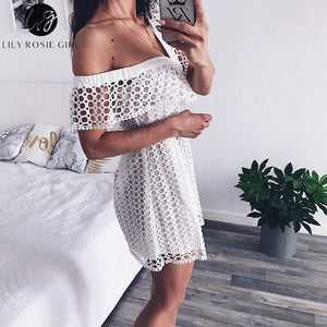 Lily Rosie Girl Sexy Ruffle Short Sleeve Dress Women White Lace Mini Sweet Pink Dresses V-neck Party Beach One Shoulder Vestidos