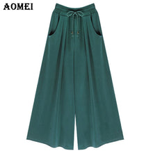 Loose Fit Office Women Summer High Waist Wide Leg Pants Pockets Green Black Casual Trousers 2018 5XL 4XL Plus Size Beachwear