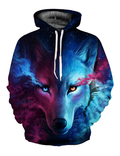 MISSKY Autumn Winter Men Sweatshirt 3D Wolf Printed Hoodie Men/Women Cool Animal Tops Unisex Pullover