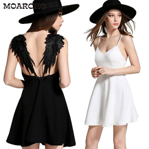 MOARCHO Summer Black White Lace Angel Wings Dress 2017 Casual Slim Sexy Backless Beach Dresses Women Spaghetti Strap Vestidos