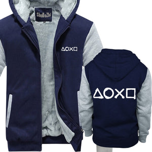 Male Warm Sportwear Tracksuit Hoodie Clothes new men cotton hoodies Playstation Buttons casual hoodie thick fleece jacket