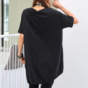 Max LuLu 2019 Summer Korean Fashion Brand Ladies Punk Holes Tops Tees Womens Pattern Long Tshirts Female Black Oversized T-shirt
