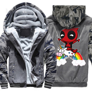 Men's Jacket Hoody 2018 Autumn Winter Brand Clothes Cartoon Deadpool Hoodies Men Hip Hop Streetwear Zipper Tops Coats Sweatshirt