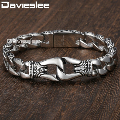 Mens Bracelet 316L Stainless Steel Silver Color Curved Curb Link Chain Bracelets for Men Davieslee Wholesale Jewelry 15mm HB10