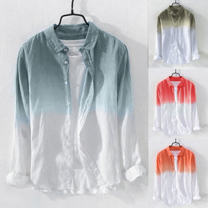 Mens Cool Thin Breathable Lapel Collar Hanging Dyed Gradient Cotton Shirt Casual Collar Male 2019 Mens Shirt New Fashion Blouse