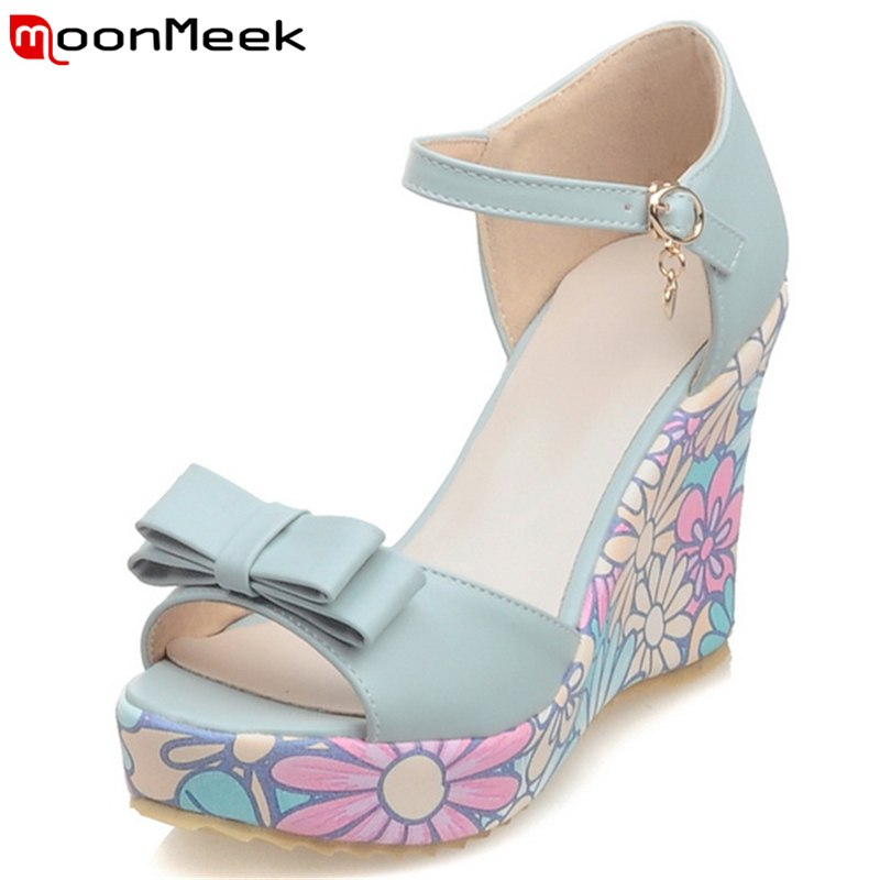 MoonMeek 2019 summer new arrival sweet butterfly woman sandals flower and platform high heels woman shoes non-slip fashion shoes